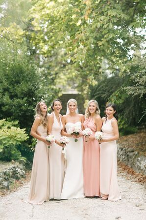 Formal Mismatched Blush Bridesmaid Gowns