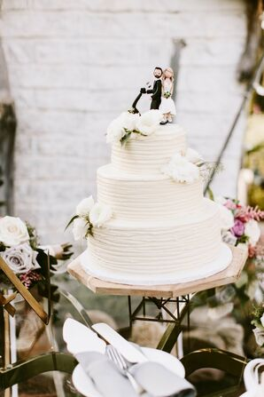 Simple White Wedding Cake With Personalized Cake Topper