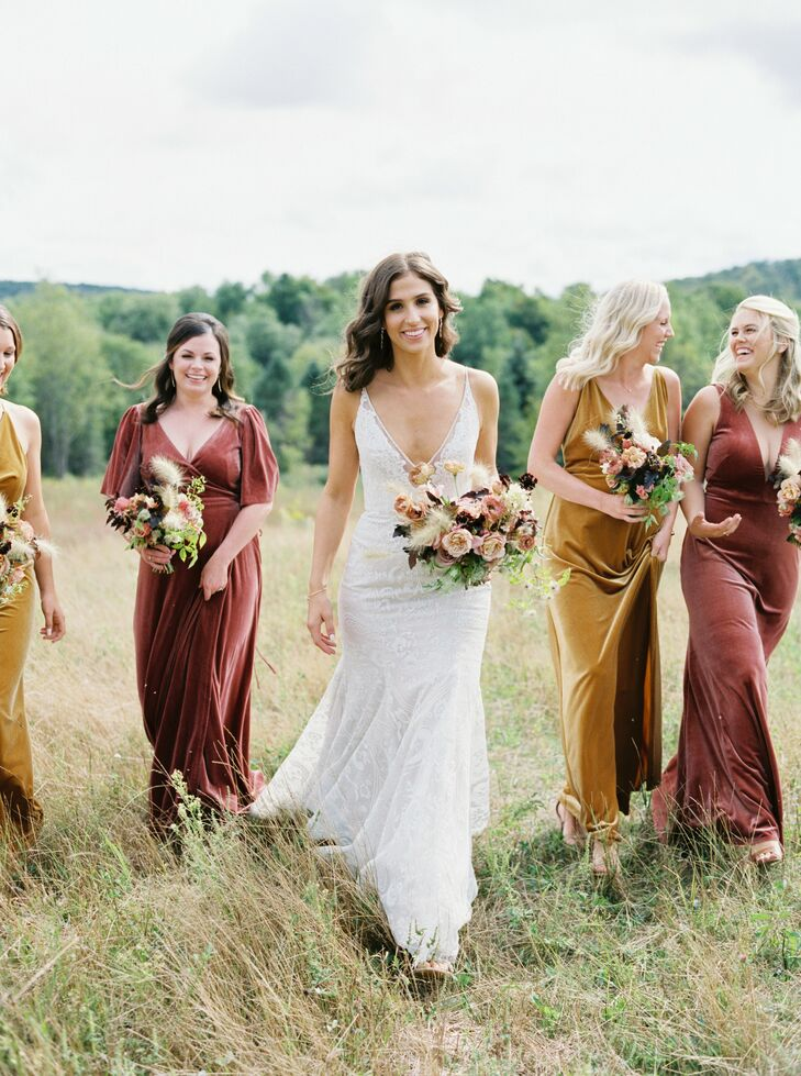 Bridesmaids in Velvet Dresses at Nature Michigan Retreat in Maple City