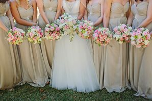 Pink and Ivory Rose Bridesmaid Bouquets