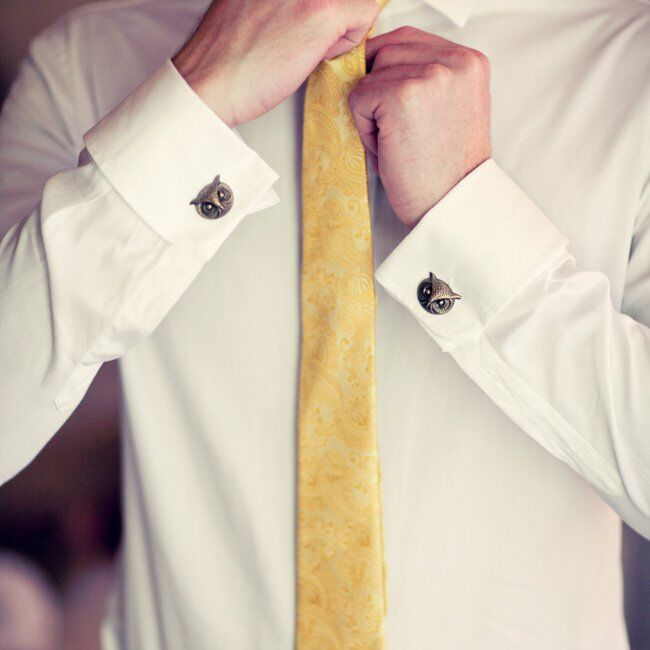 The groom wore vintage owl cufflinks, while the groomsmen wore vintage rabbit and octopus cufflinks.