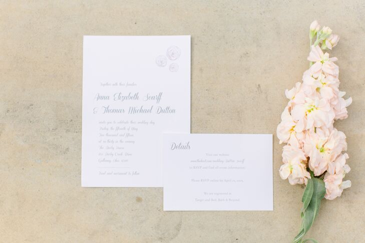 Simple white stationery was used for the invitations. The pages were accented with light gray text in multiple fonts, and had faint peony designs.