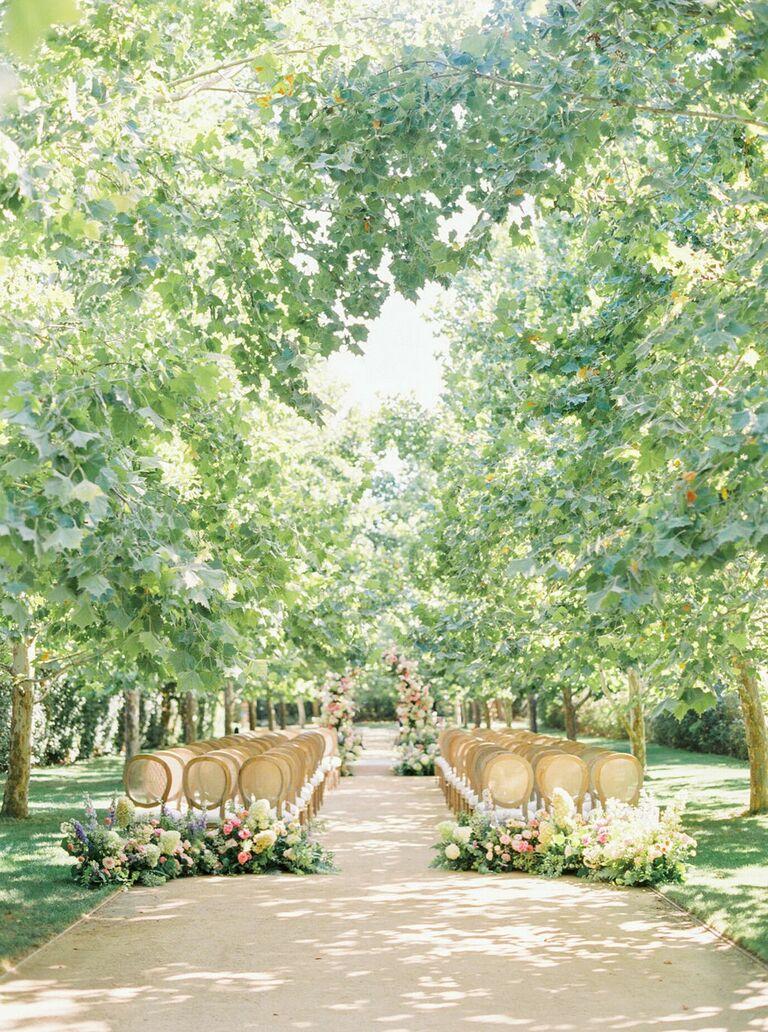 Wedding ceremony in romantic tree grove