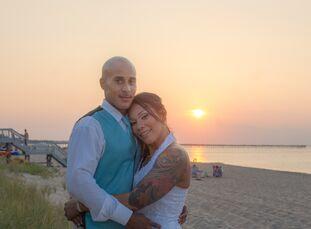 Mari Pizarro (33 and in vehicle sales) and Mike Lambert (31 and in IT) had a totally DIY wedding at Virginia Beach Resort Hotel in Virginia Beach, Vir
