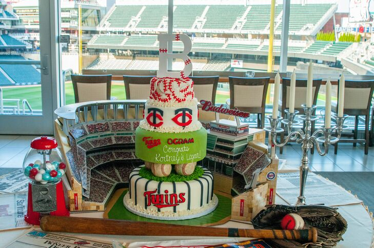 The custom-made three-tier cake was inspired by the couple's favorite team, the Minnesota Twins.