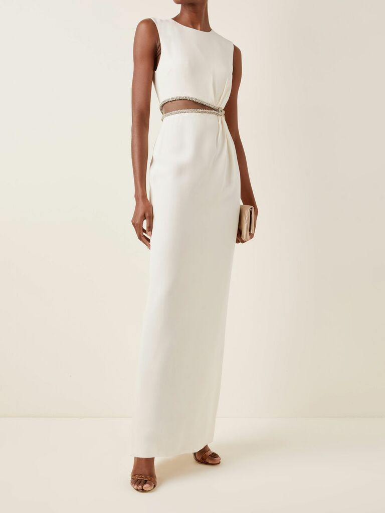 Sleeves faille gown with a jeweled midriff cutout