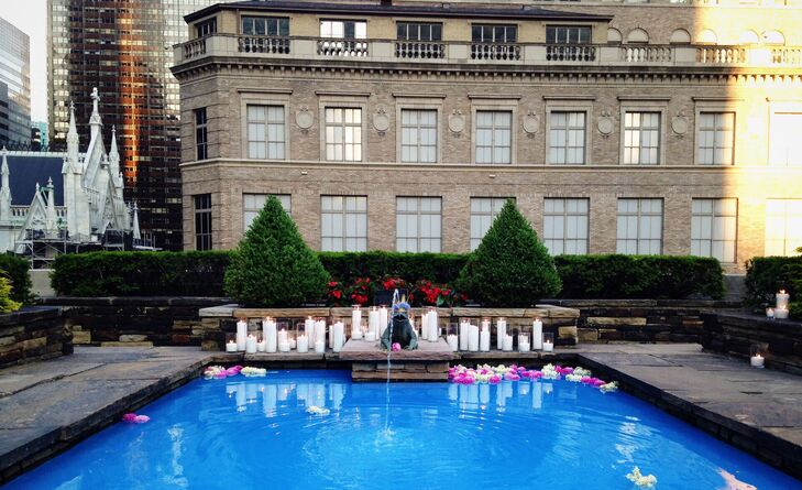 Candle and Rose Petal Decorated Pool