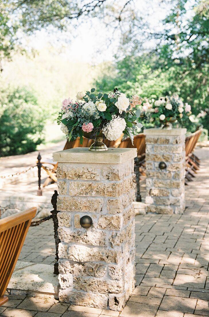 Elegant Rose and Eucalyptus Ceremony Arrangements