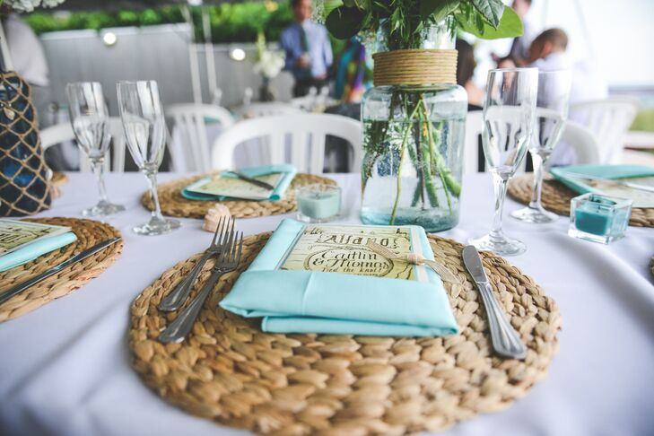 Chunky Woven Charger and Blue Napkin Placesetting