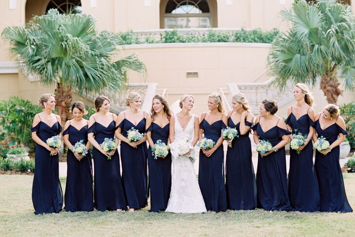Bridesmaids in Navy Blue Cold Shoulder Gowns