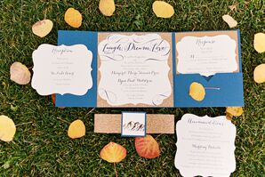 Blue and Gold Mountain-Themed Invitation Suite