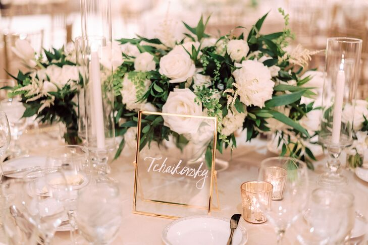 Personalized Gold-Framed Table Number Named for Classical Composer