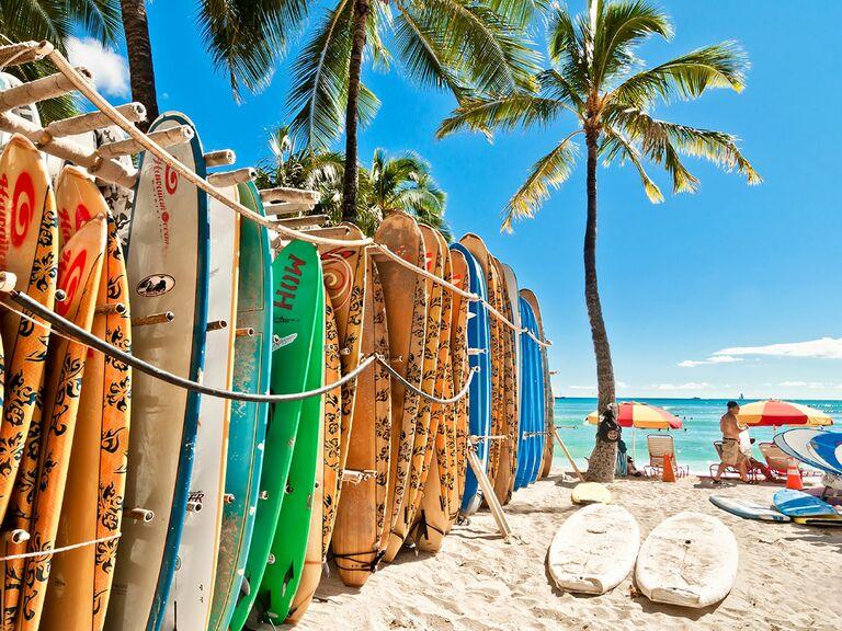 Surfboards lined up at Waikiki Beach in Honolulu. Oahu, Hawaii.