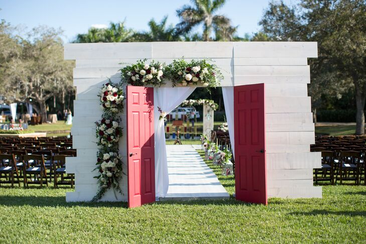 Ceremony Entrance with Red Chapel Doors