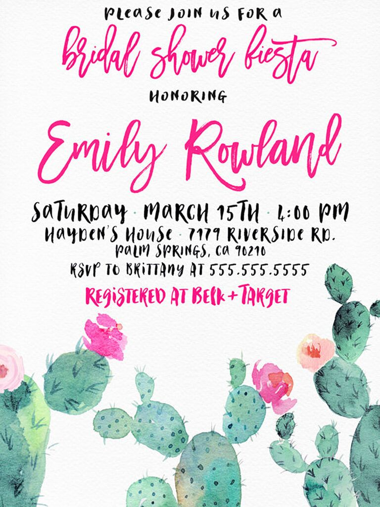 watercolor fiesta themed printable bridal shower invitation template
