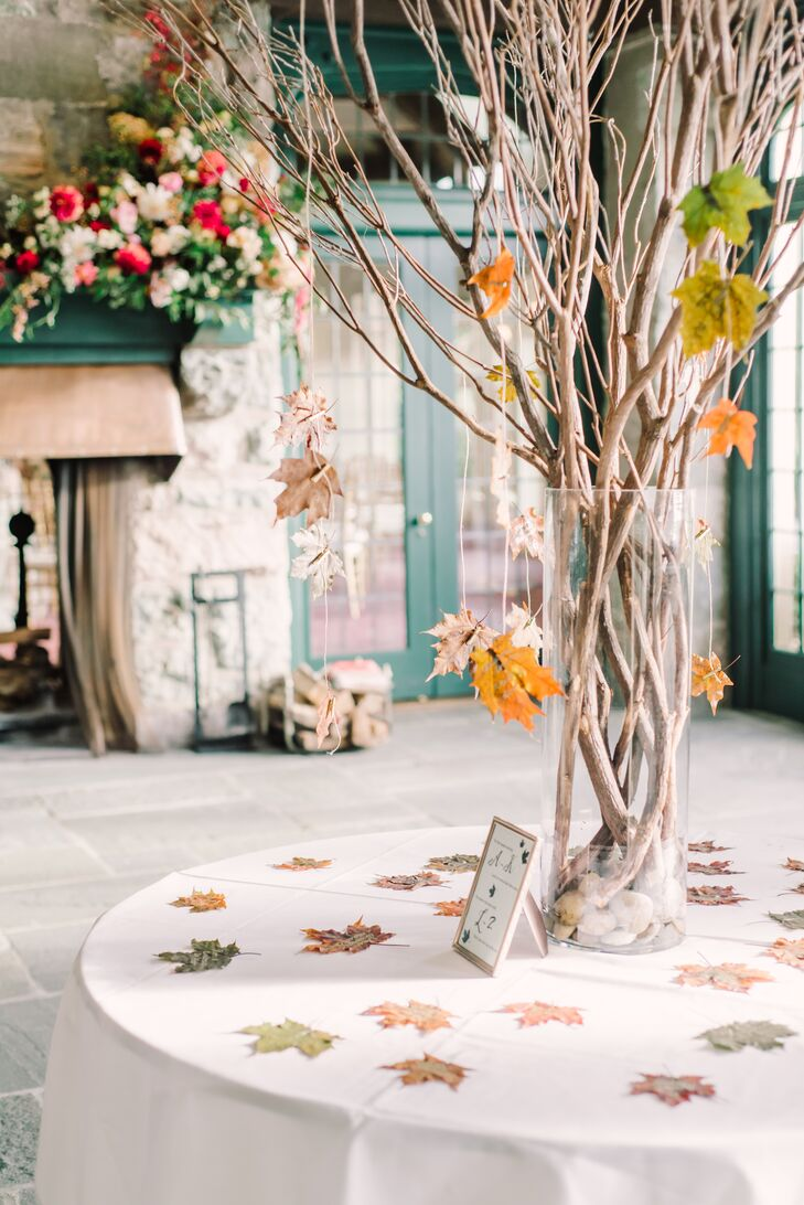 Escort Card Display with Fall Leaves