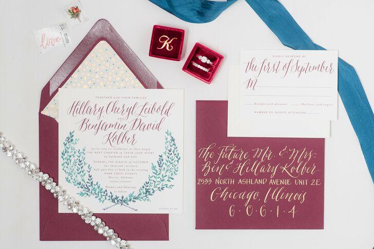 Bohemian Hand-Lettered Burgundy Invitations