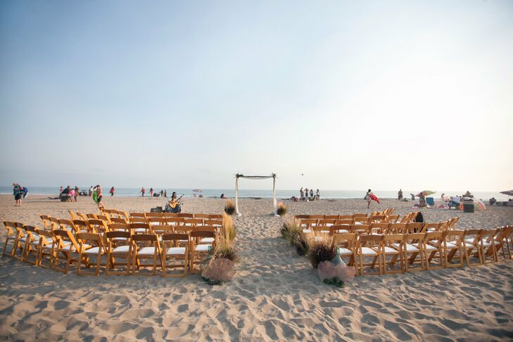 The couple held their ceremony overlooking the Pacific Ocean at the Santa Monica beach.