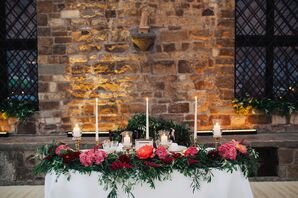 Candlelit Sweetheart Table With Olive Branch Garland