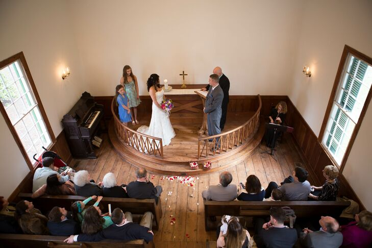 "Because it was an intimate family affair, only Matthew's two girls stood by the as they said ""I do."""
