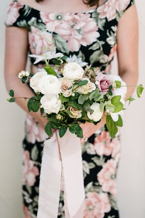 Hand-Torn Ribbon-Wrapped Rose and Ranunculus Bouquet