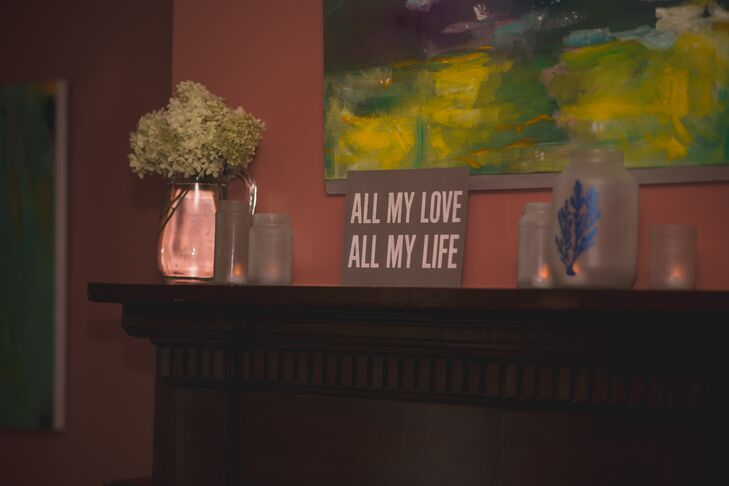 "A small sign with ""All My Love, All My Life"" printed on it stood propped on the mantelpiece at The Captain's House."