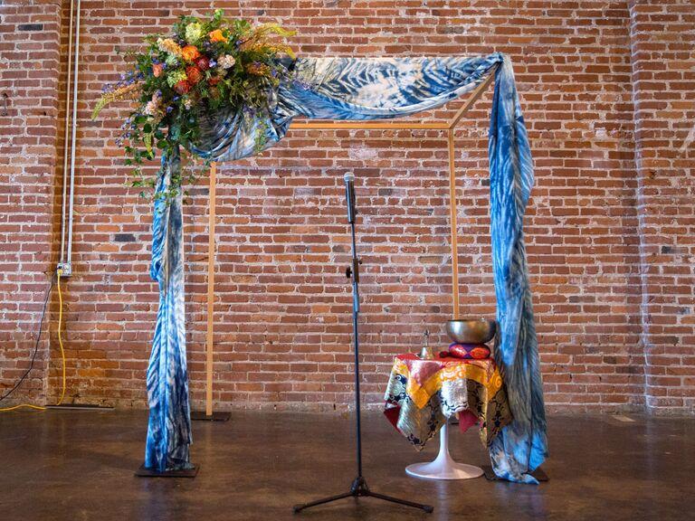 Tie-dye ceremony arch