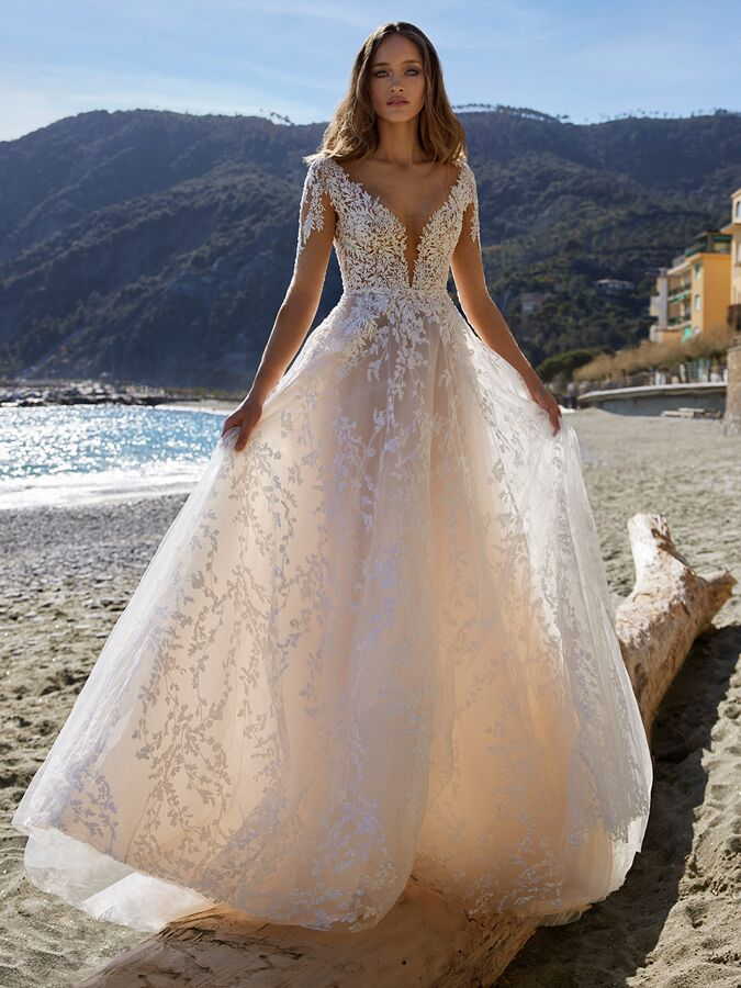 Ines by Ines Di Santo long sleeve illusion A-line gown