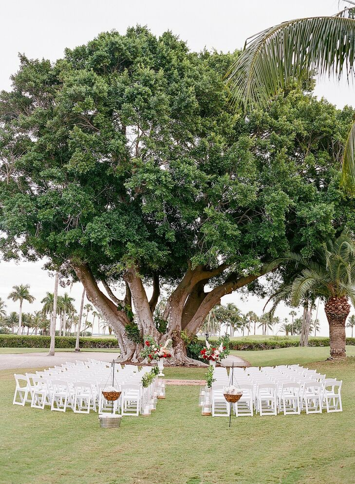 Ceremony Under Tree for Wedding at The Gasparilla Inn in Boca Grande, Florida