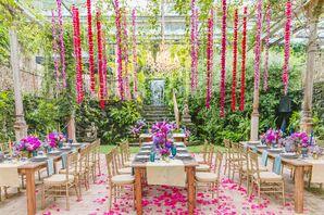 Hawaiian Reception with Greenery and Hanging Flowers