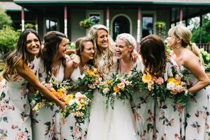 Bridesmaids with Floral Dresses