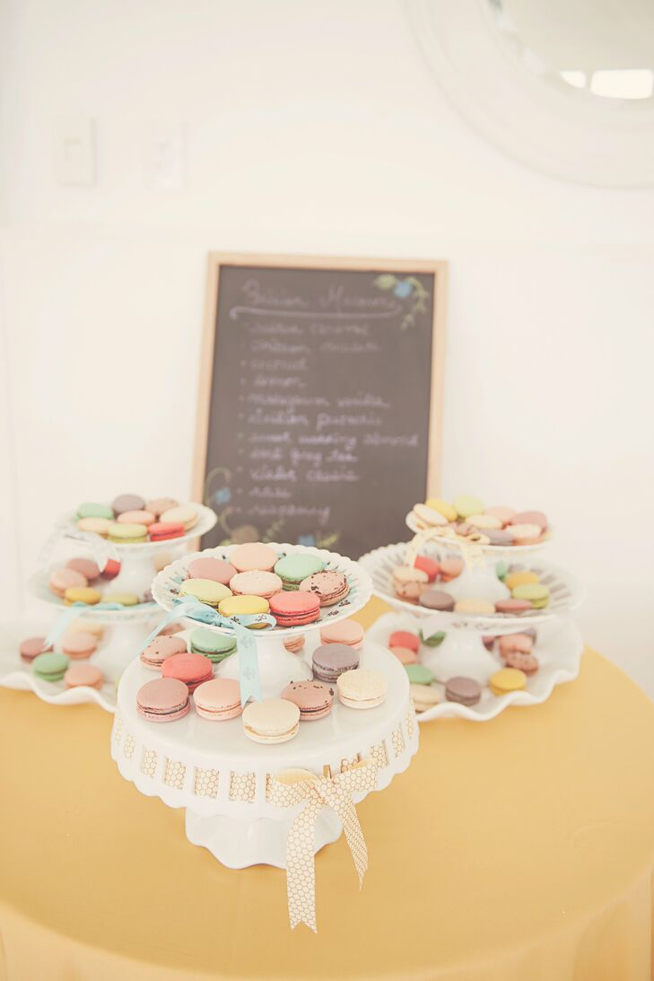 In addition to the cake, French macarons were served. The confections were a must-have for the bride and proved a crowd favorite.