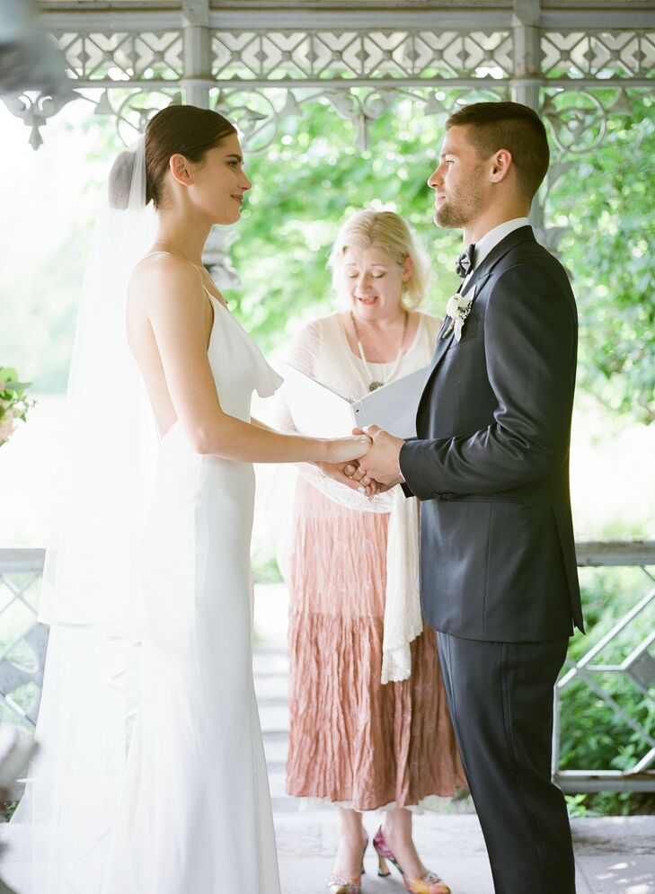 Classic Bride, Groom and Officiant at Central Park Wedding Ceremony