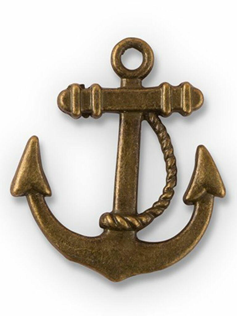 brass boat anchor charm