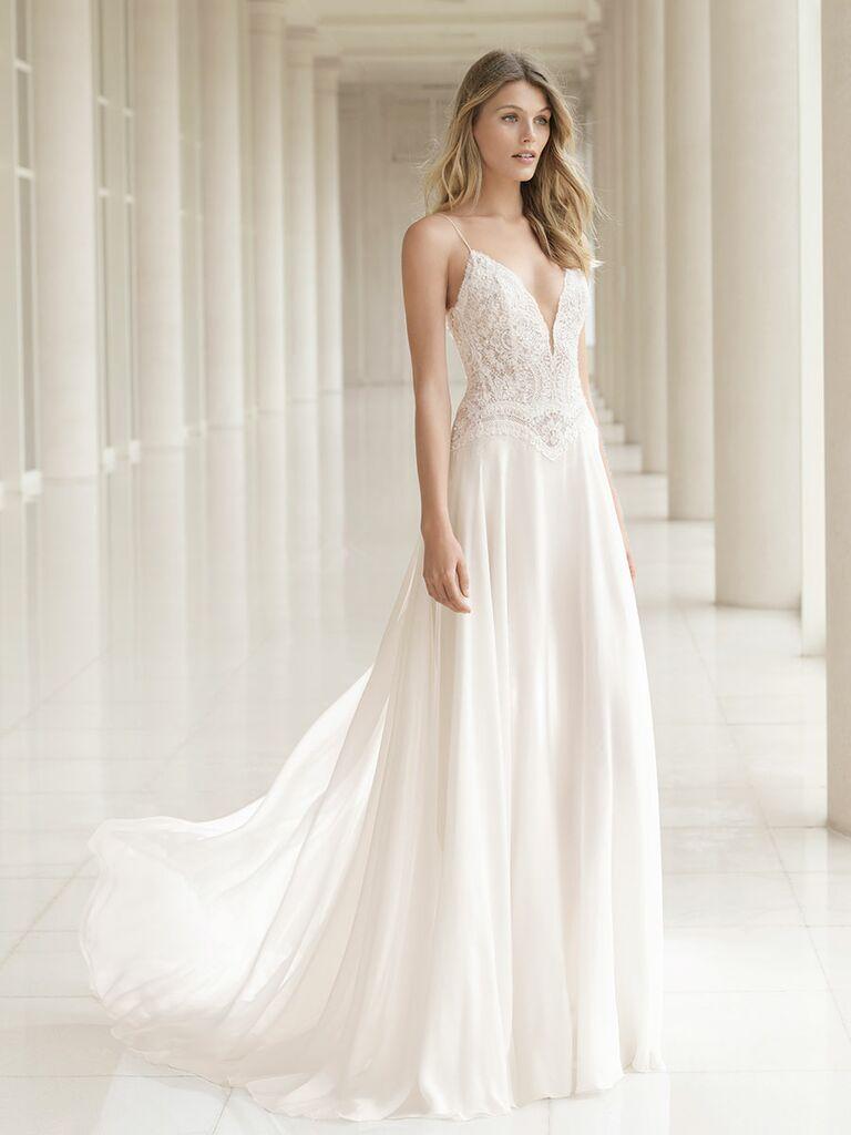 Rosa Clará Fall 2018 wedding dresses lace bodice plunging neckline