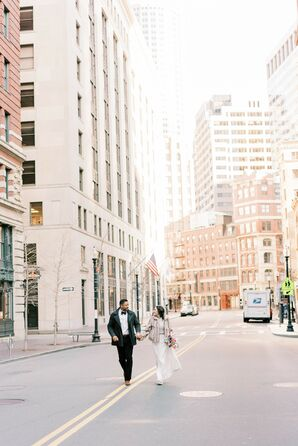 Couple Running During Elopement in Downtown Boston, Massachusetts