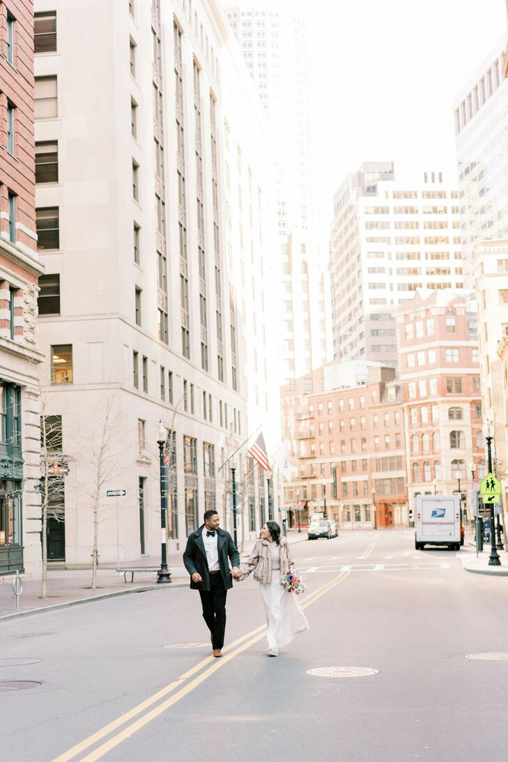 Couple Running During Elopement in Downtown Boston, Massachusetts