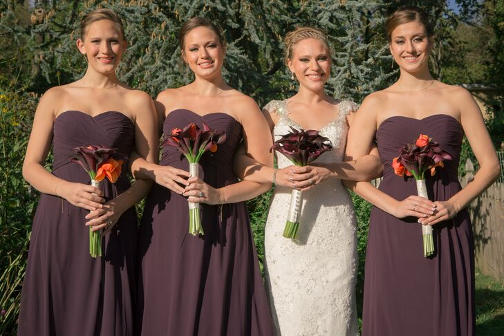 7bf988fe7fc Floor Length Eggplant Purple Bridesmaid Dresses and Calla Lily Bouquets