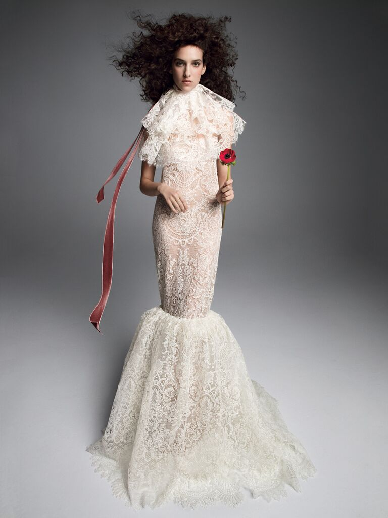 Vera Wang Fall 2019 Bridal Collection allover lace mermaid wedding dress with dramatic lace collar
