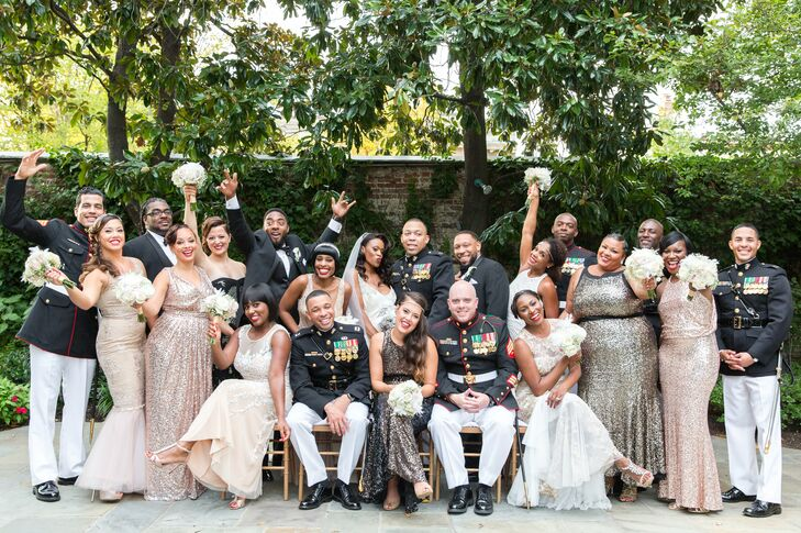 Bridesmaids in Sequined Dresses and Groomsmen in Military Attire