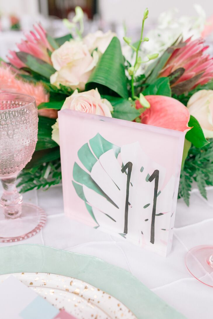 Tropical Table Number and Colorful Centerpiece