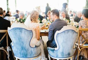 Couple in Blue Vintage Sweetheart Chairs