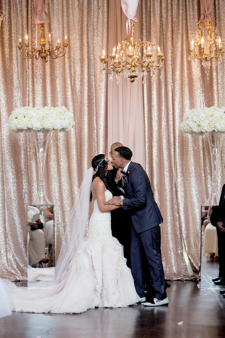 Glam Blush Sequin Ceremony Backdrop and Chandeliers
