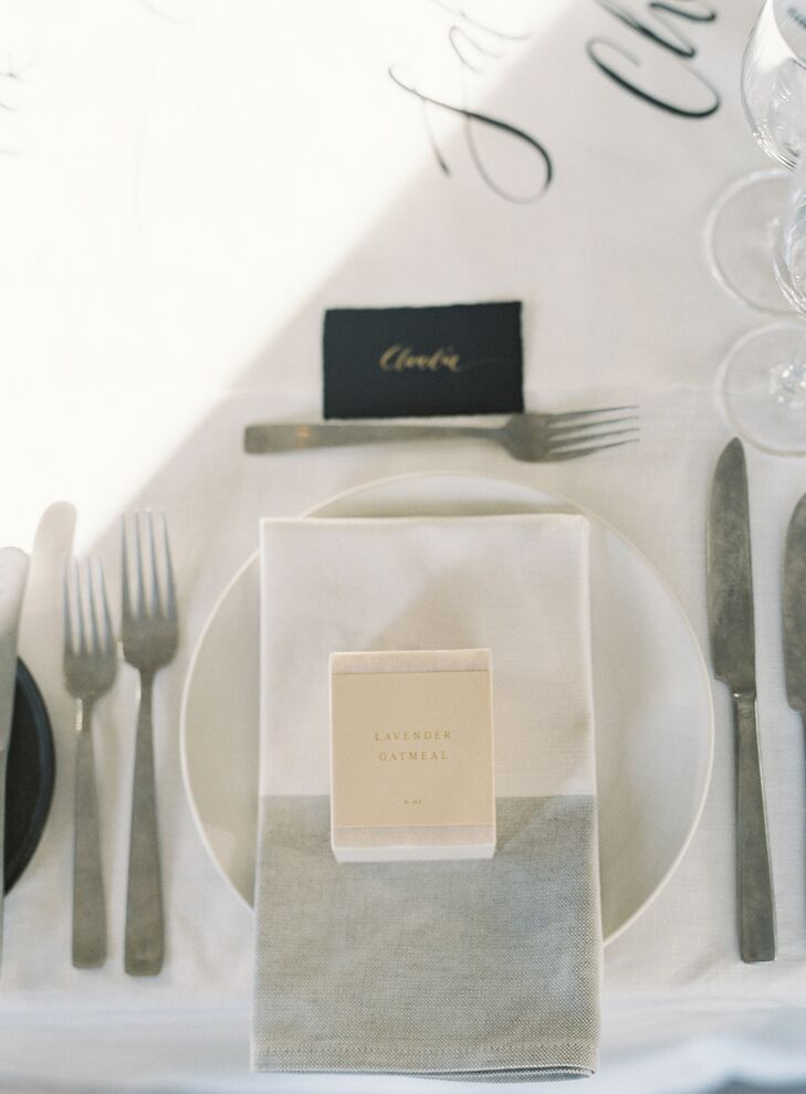 Modern, Neutral Place Setting with Two-Tone Napkin and Handmade Soap Favor