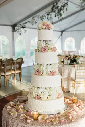 Round Tiered Buttercream Cake with Hydrangea and Rose Cake Flowers