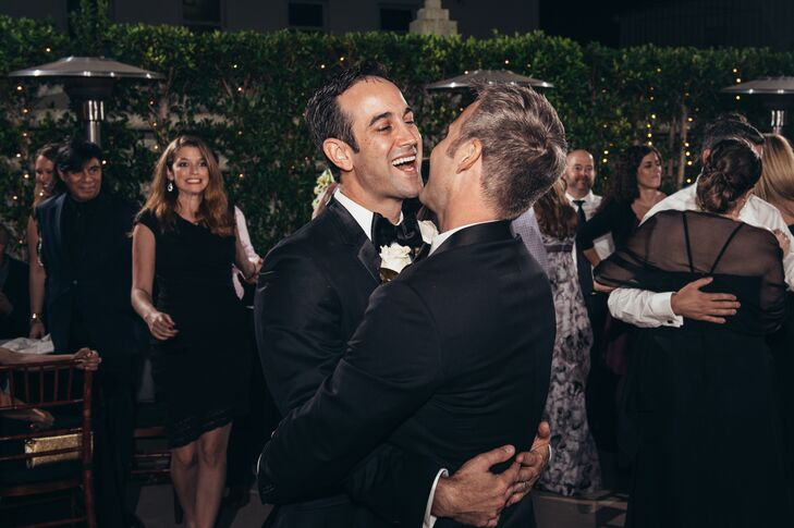 """""""We knew we wanted to be married in tuxedos from the beginning. But it wasn't until after we booked the Oviatt Penthouse did the style start to gel. We loved the venue so much, we thought it would be so classy to sip martinis, dressed dapper and surrounded by the LA skyline,"""" says Randy."""