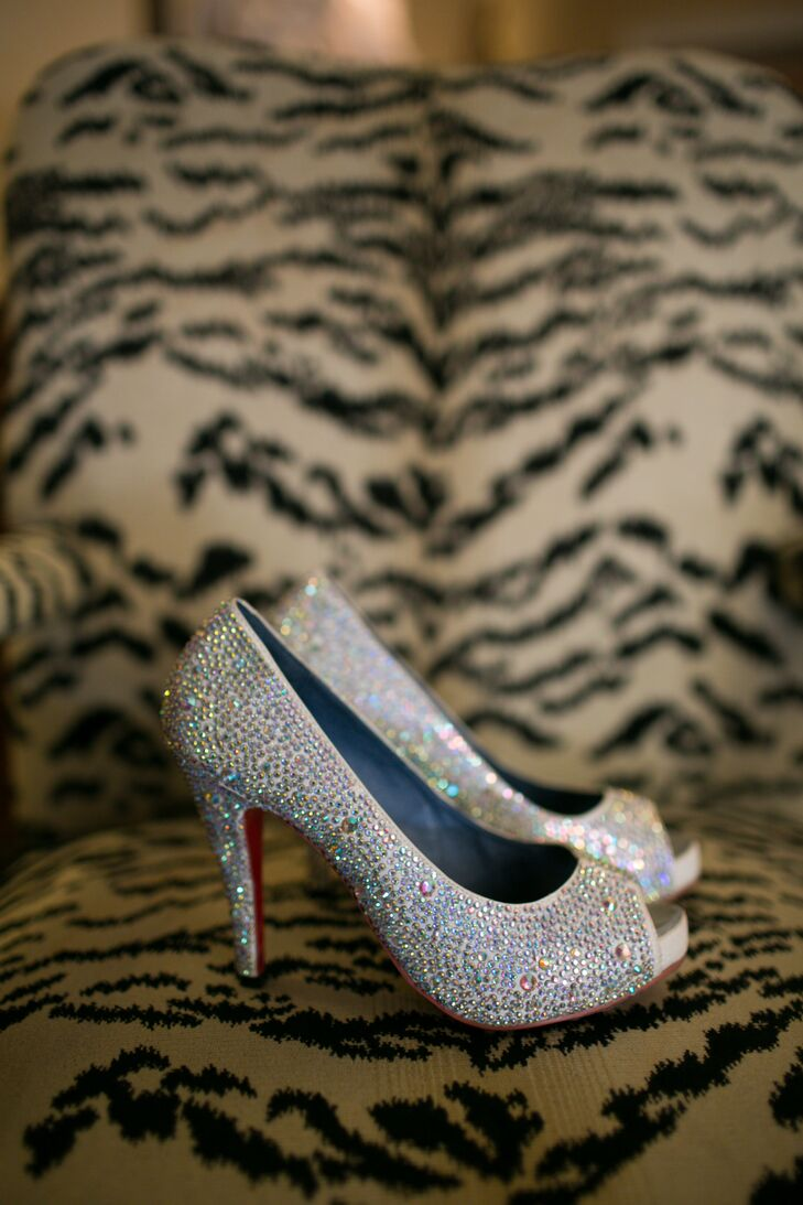 Silver Rhinestone Accented Shoes, Christian Louboutin