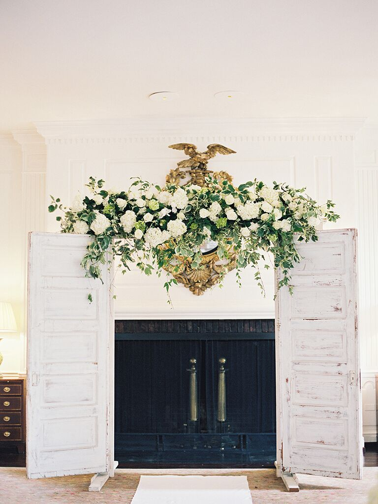 Rustic Wooden Double Doors With Flowers