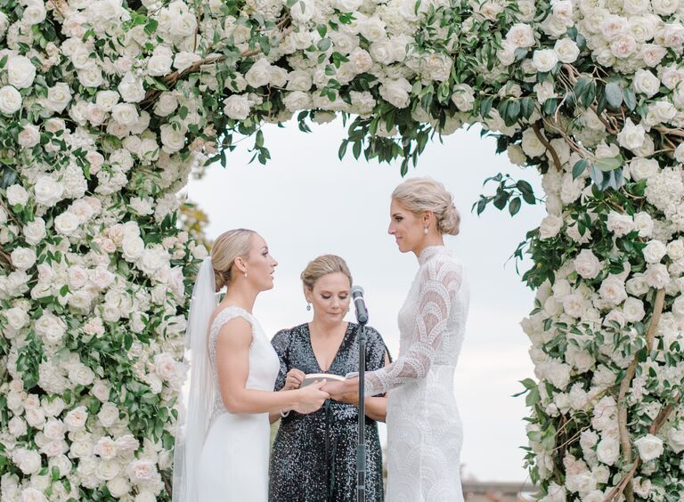 The Knot Dream Wedding 2017 ceremony white rose arch