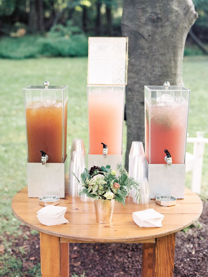Refreshments in Glass Containers on Wood Table